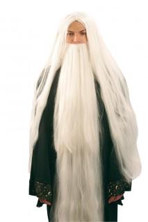 Zauberer-Perücke und Bart für Herren Kostüm-Accessoire weiss