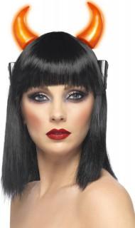 Leuchtende Teufelshörner Halloween Kostüm-Accessoire rot