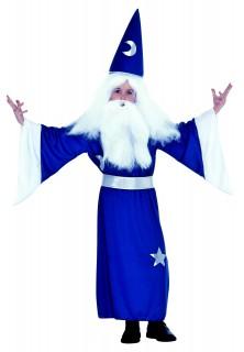 Magierkostüm für Kinder Zauberer-Kinderkostüm blau-silber