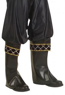 Stiefelstulpen Pirat Kostüm-Zubehör schwarz-gold