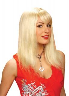 Glatte Langhaar-Perücke Deluxe blond