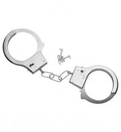 Metall-Handschellen mit Schlüssel Halloween-Accessoire silber