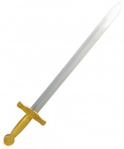 Klassisches Spielzeug-Schwert Mittelalter silbern-gold 65 cm