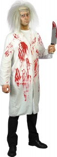 Blutiger Arztkittel Horrorarzt-Kostüm weiss-rot