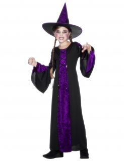 Langes Hexenkleid für Kinder schwarz-lila