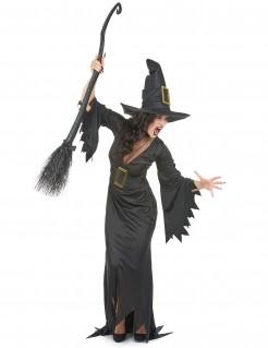 Wildes Hexenkostüm Halloween-Damenkostüm schwarz-gold