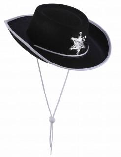 Cowboyhut für Kinder Sherriff-Hut schwarz-weiss-silbern