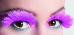 Wimpern mit Federn pink