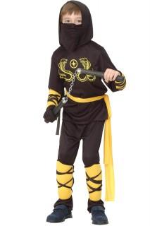 Ninja-Kostüm Shinobi-Kostüm für Kinder Jungen schwarz-gelb
