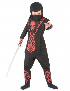 Ninja-Kostüm für Kinder Halloween-Kostüm schwarz-rot