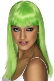 Hexen-Perücke glatt mit Pony grün