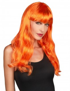 Lange Damenperücke mit Pony glatt orange