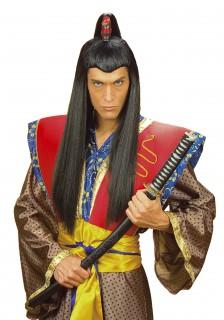 Samurai Perücke lang schwarz