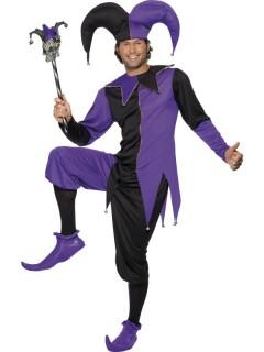 Halloween-Harlekinkostüm für Herren lila-schwarz