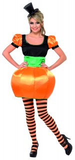 Pumpkin Kürbis Damenkostüm orange-schwarz-grün