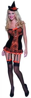 Heisse Hexe Damenkostüm schwarz-orange