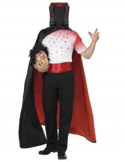 Kopfloser Mann Halloween-Herrenkostüm schwarz-weiß-rot