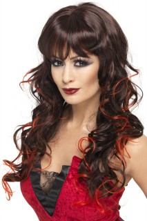 Gothic Vampir Braut Perücke schwarz-rot