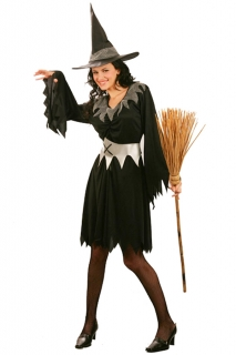 Zackiges Hexen-Damenkostüm schwarz-silber