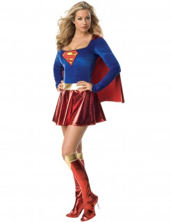Supergirl™-Damenkostüm Deluxe rot-blau-goldfarben