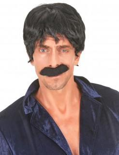Pilzkopf Perücke Herren schwarz