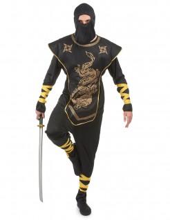 Legendärer Ninja-Meister Herren-Kostüm schwarz-goldfarben-gelb