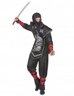 Geheimnisvoller Ninja Kostüm für Herren schwarz-silber-rot