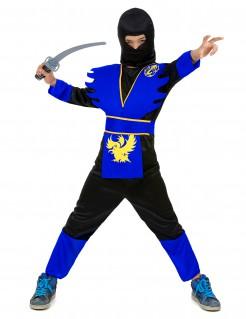 Strahlend blaues Ninja-Kostüm für Kinder Halloween-Kostüm schwarz-blau