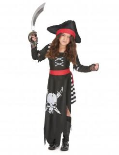 Seeräuberkostüm für Mädchen schwarz-weiß-rot
