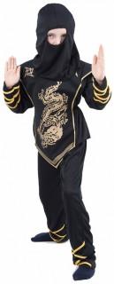 Drachen-Ninja Kostüm für Jungen Halloween-Kostüm schwarz-gold