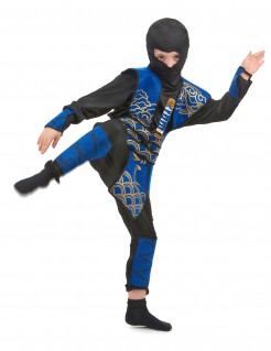 Ninja-Kämpfer Kinderkostüm schwarz-blau