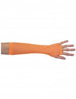 80er Jahre Netz-Handschuhe Stulpen neon orange