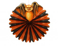 Fledermaus-Lampion Halloween orange-schwarz