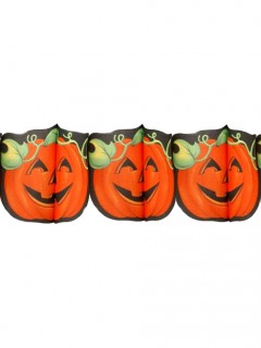 Lachender Kürbis Girlande Halloween Party-Deko orange-schwarz 300x19cm
