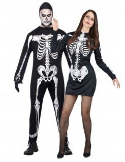 Halloweeen Knochen Skelett-Paarkostüm schwarz-weiss