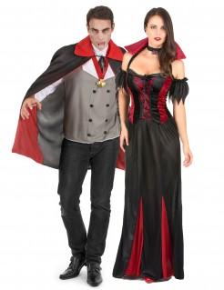 Gruseliges Vampir Paarkostüm schwarz-rot-grau