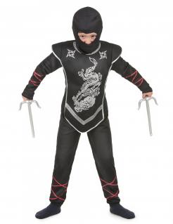 Ninja-Kinder-Kostüm Kinder-Halloween-Kostüm schwarz-rot-silber