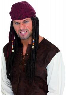 Piraten-Kapitän Perücke Dreadlocks braun