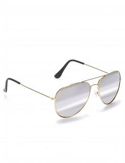 Verspiegelte Fliegerbrille mit goldenem Rahmen für Halloween