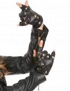 Fingerlose Hanschuhe mit Nieten für Erwachsene Punk schwarz