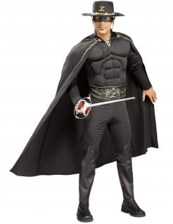 Muskulöses Zorro™-Kostüm für Erwachsene schwarz-gold