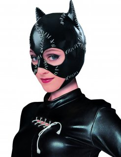 Gruselige Catwoman™-Maske Batman Returns™ Halloween-Maske schwarz-weiss