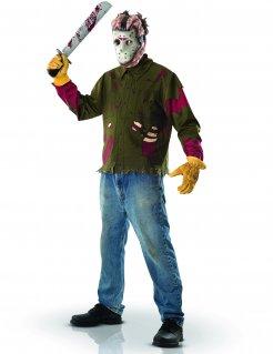 Jason-Kostüm Freitag der 13. Lizenzkostüm braun-rot-weiss