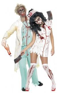 Chirurg und Krankenschwester Zombie Paarkostüm grün-weiss-rot
