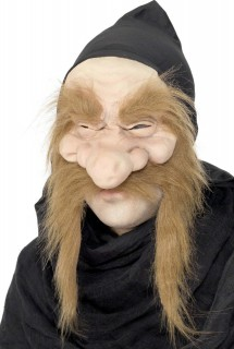 Hexenmeister Maske Zwergen Accessoire hautfarben-rot
