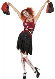 High School Horror Zombie Cheerleader Halloween Damenkostüm schwarz-rot