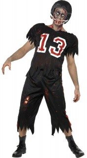 High School Horror Zombie-Footballer Kostüm schwarz-weiss-rot