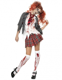 Zombie-High-School-Damenkostüm Zombie-Schülerin rot-weiss-grau