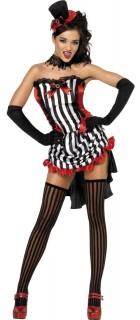 Vampirin Halloween Damenkostüm schwarz-weiss-rot