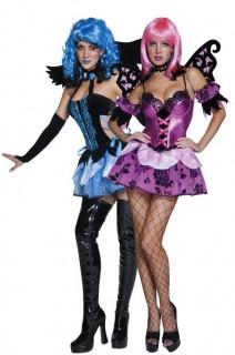 Dunkler Engel und Elfe Fantasy-Paarkostüme für Damen schwarz-lila-blau